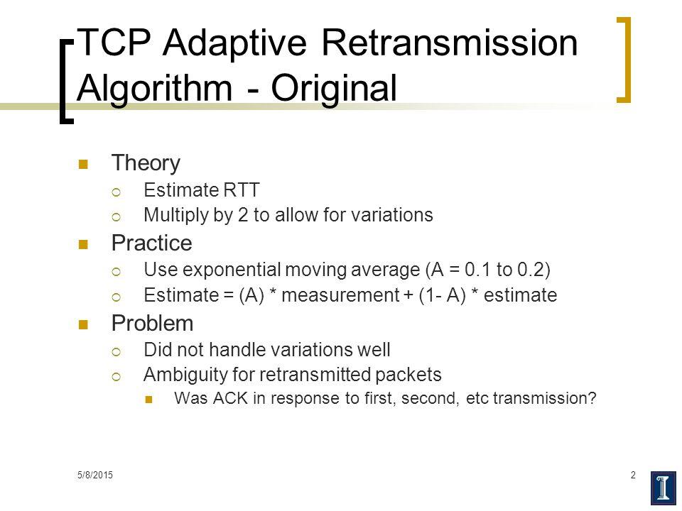 TCP Adaptive Retransmission Algorithm - Original