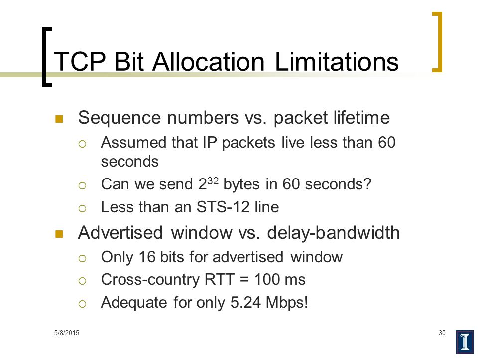 TCP Bit Allocation Limitations