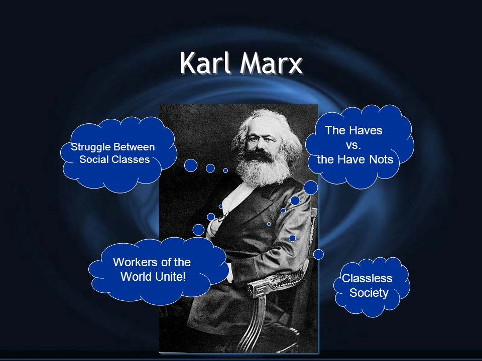 Karl Marx The Haves vs. the Have Nots Workers of the World Unite!