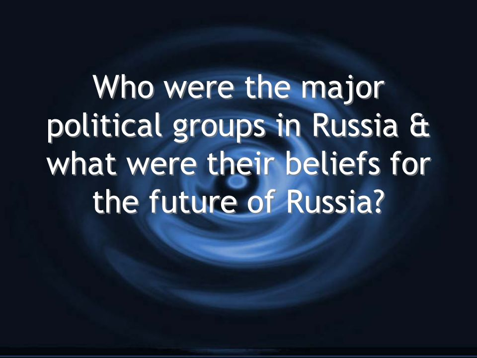 Who were the major political groups in Russia & what were their beliefs for the future of Russia