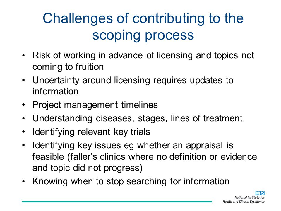 Challenges of contributing to the scoping process