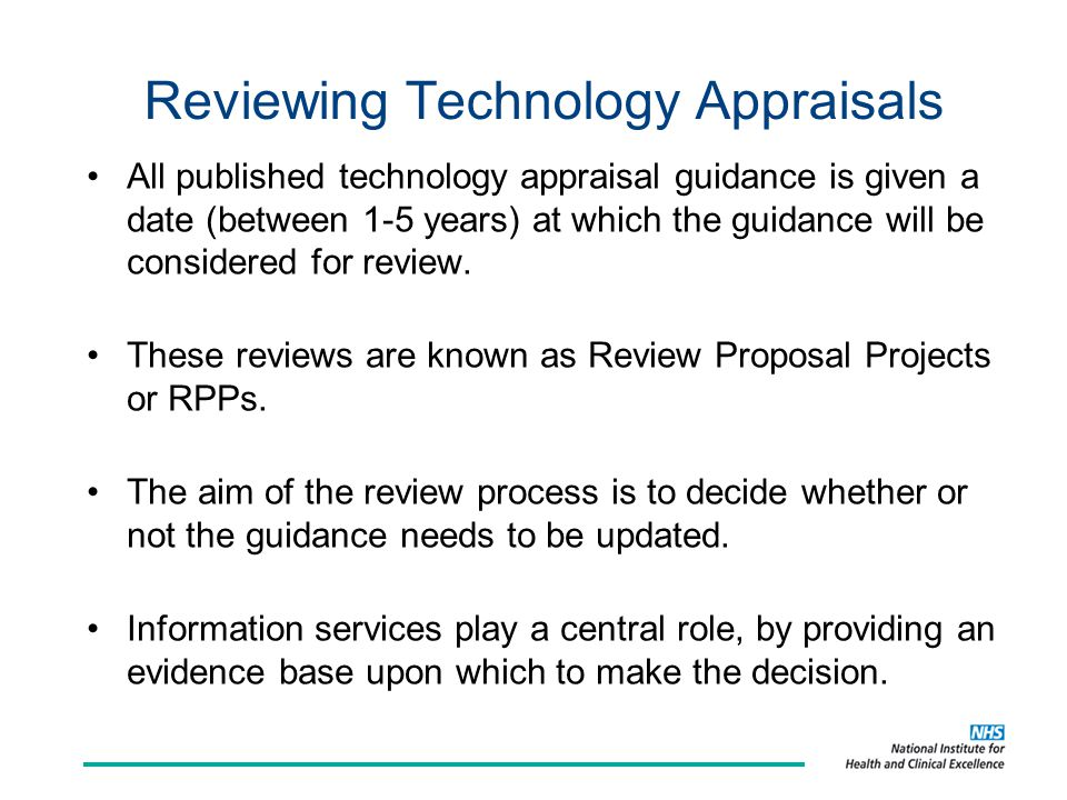 Reviewing Technology Appraisals