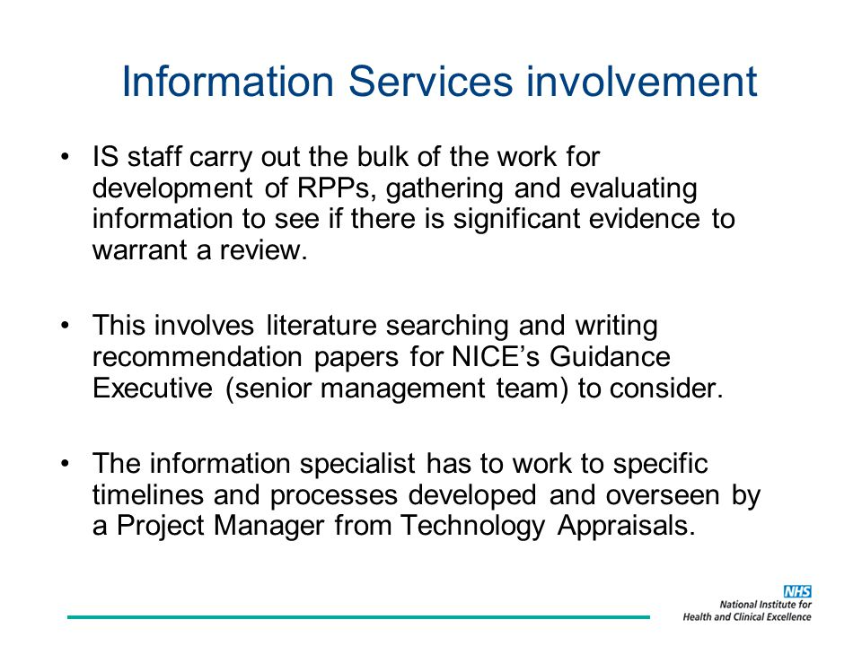 Information Services involvement