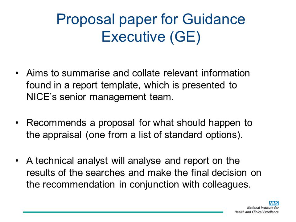 Proposal paper for Guidance Executive (GE)