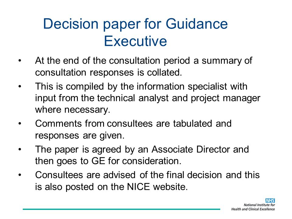 Decision paper for Guidance Executive