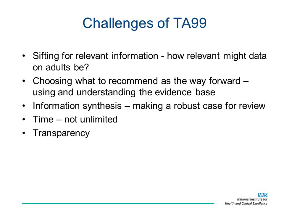 Challenges of TA99 Sifting for relevant information - how relevant might data on adults be