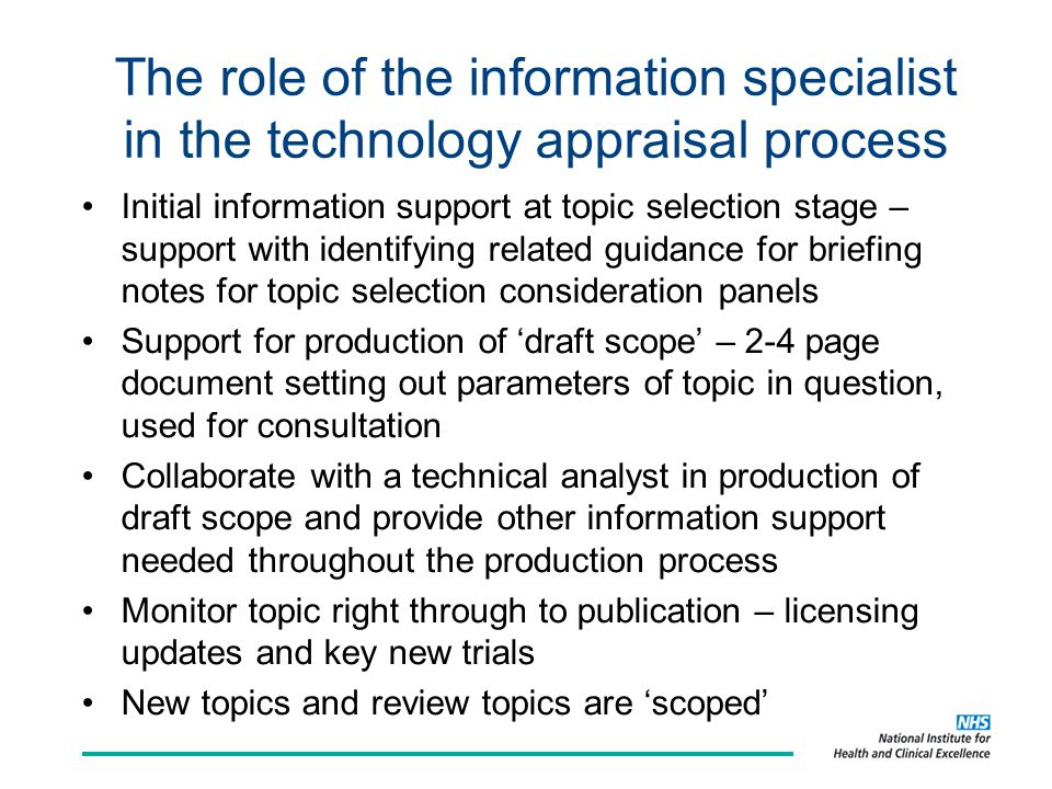 The role of the information specialist in the technology appraisal process