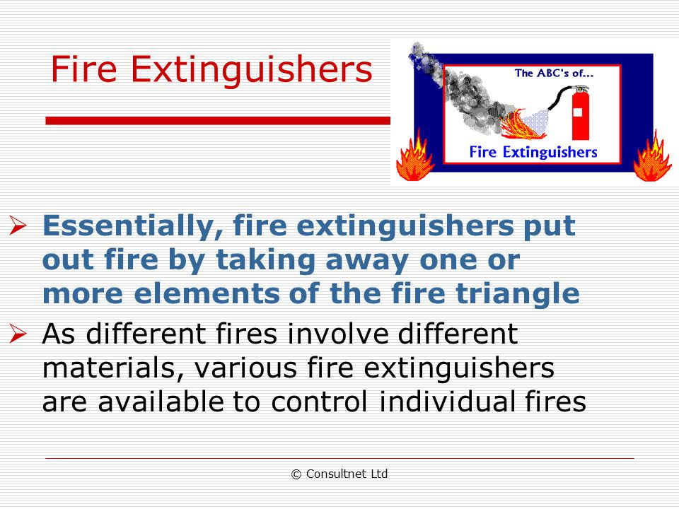 Fire Extinguishers Essentially, fire extinguishers put out fire by taking away one or more elements of the fire triangle.