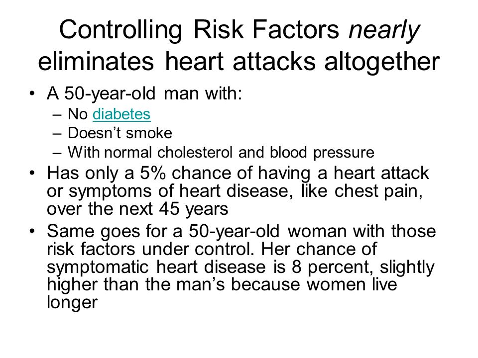 Controlling Risk Factors nearly eliminates heart attacks altogether