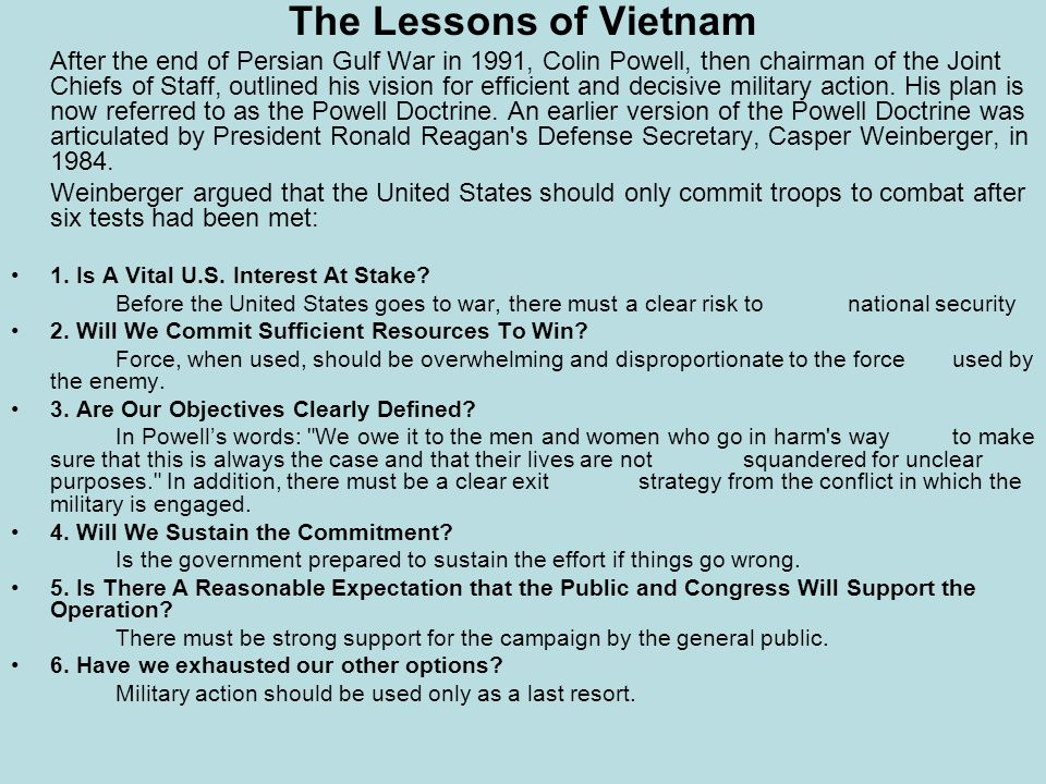 The Lessons of Vietnam