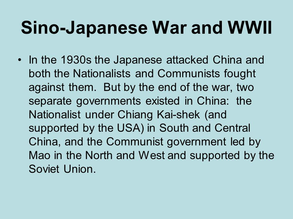 Sino-Japanese War and WWII