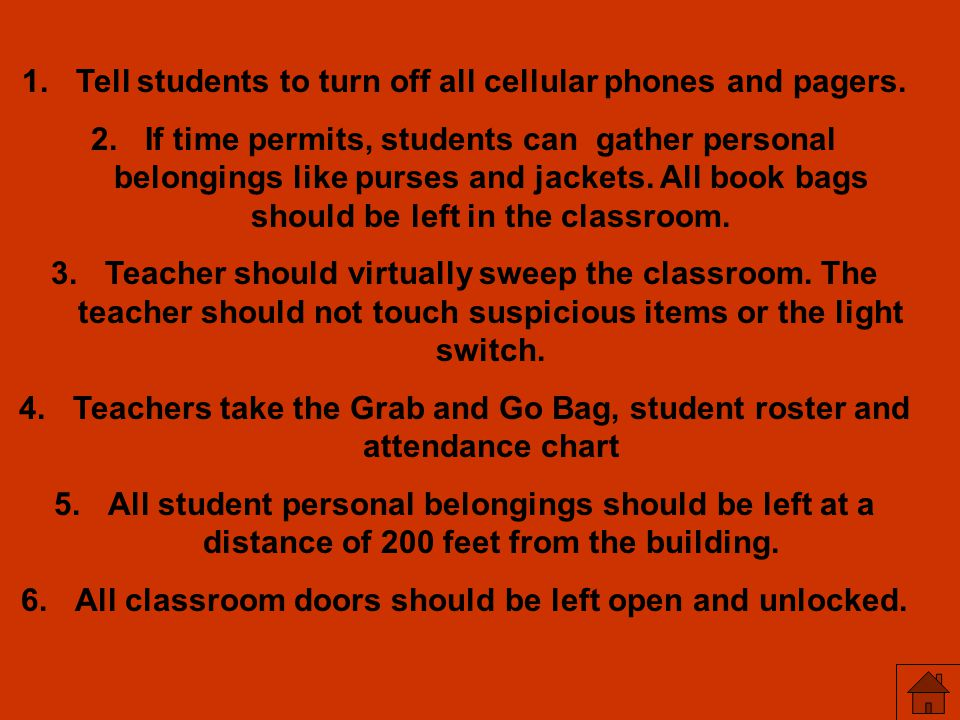 Tell students to turn off all cellular phones and pagers.