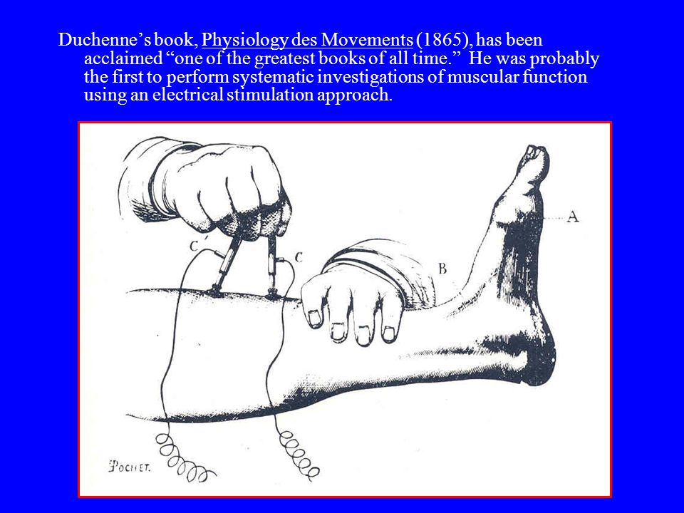 Duchenne's book, Physiology des Movements (1865), has been acclaimed one of the greatest books of all time. He was probably the first to perform systematic investigations of muscular function using an electrical stimulation approach.