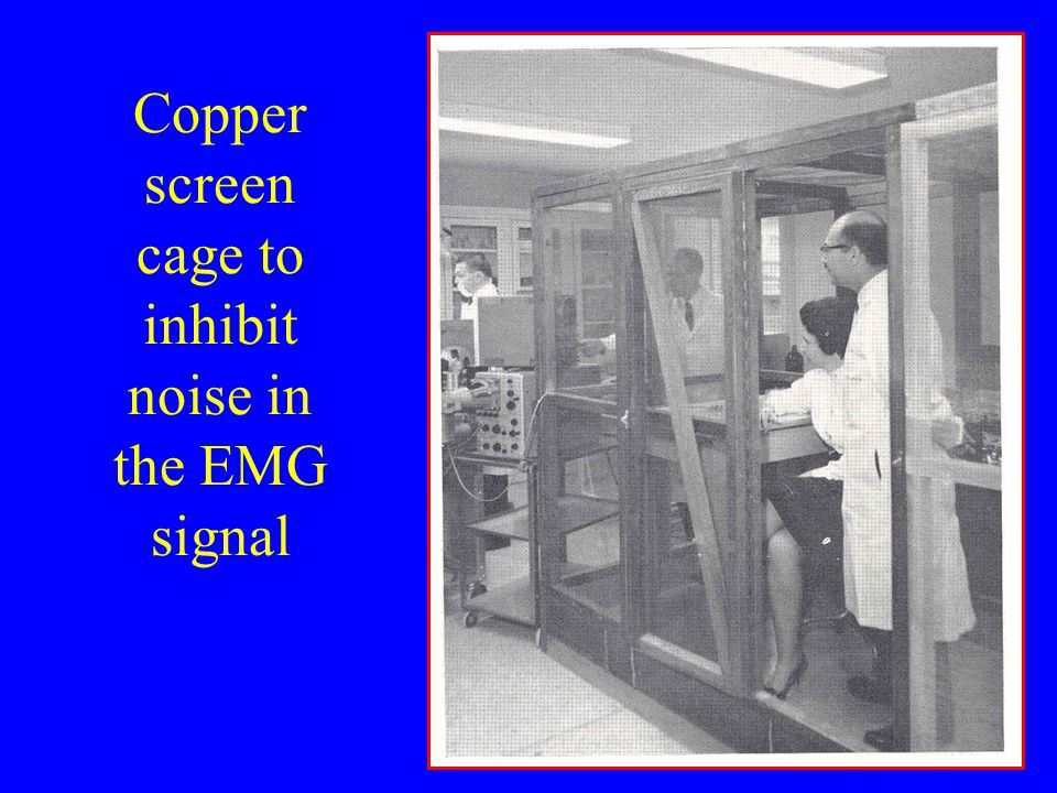 Copper screen cage to inhibit noise in the EMG signal