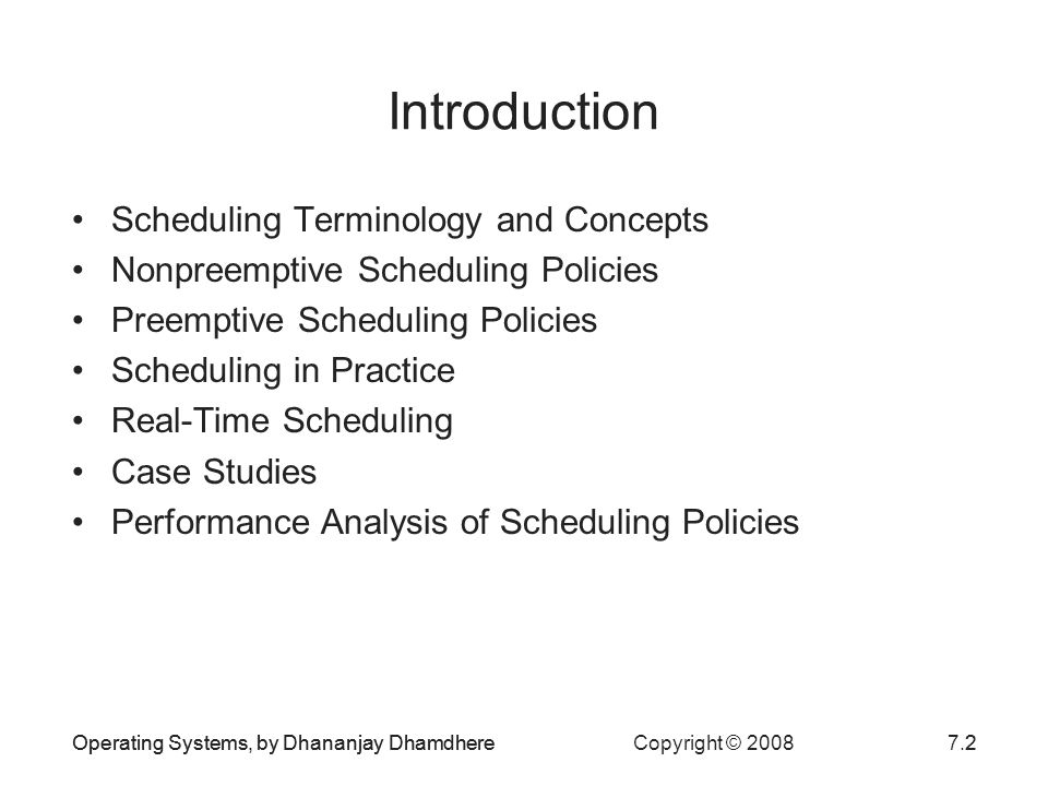 Introduction Scheduling Terminology and Concepts