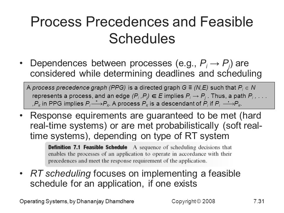 Process Precedences and Feasible Schedules