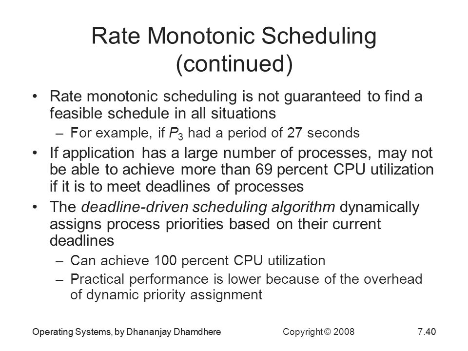 Rate Monotonic Scheduling (continued)