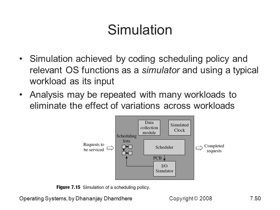 Simulation Simulation achieved by coding scheduling policy and relevant OS functions as a simulator and using a typical workload as its input.