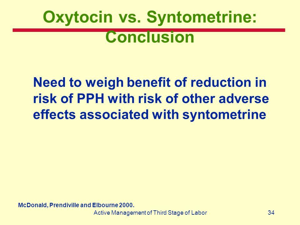 Oxytocin vs. Syntometrine: Conclusion
