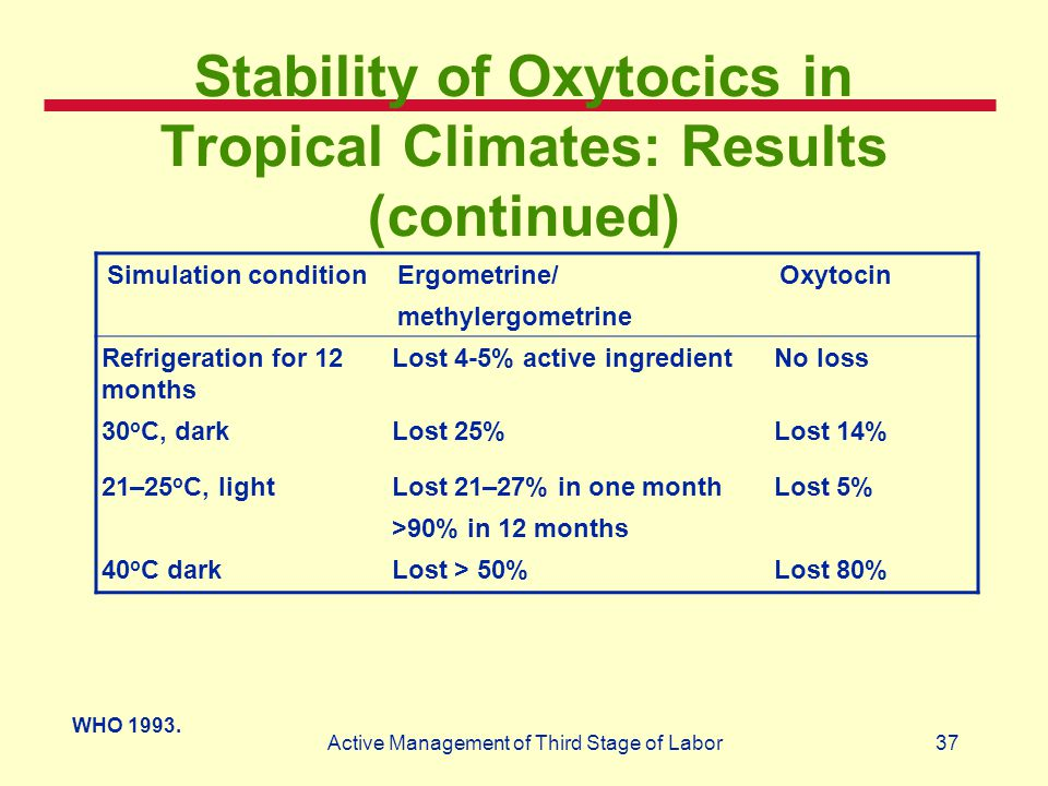 Stability of Oxytocics in Tropical Climates: Results (continued)