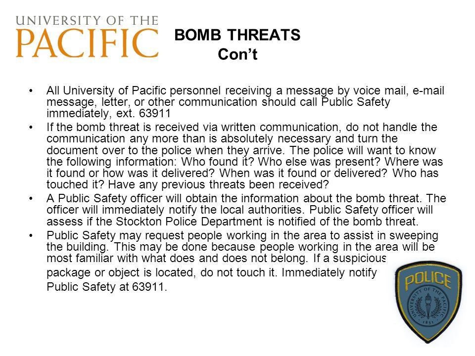 BOMB THREATS Con't