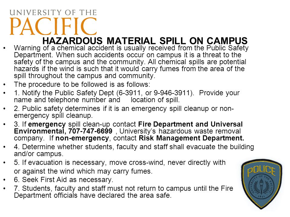 HAZARDOUS MATERIAL SPILL ON CAMPUS