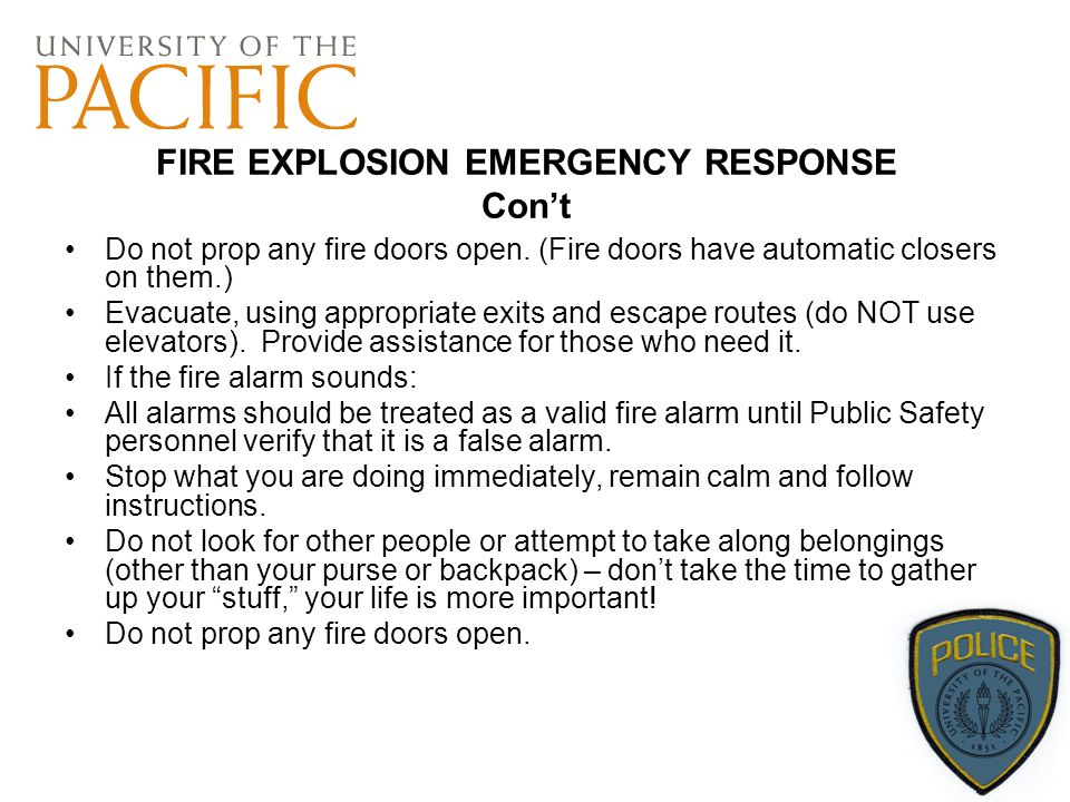 FIRE EXPLOSION EMERGENCY RESPONSE Con't