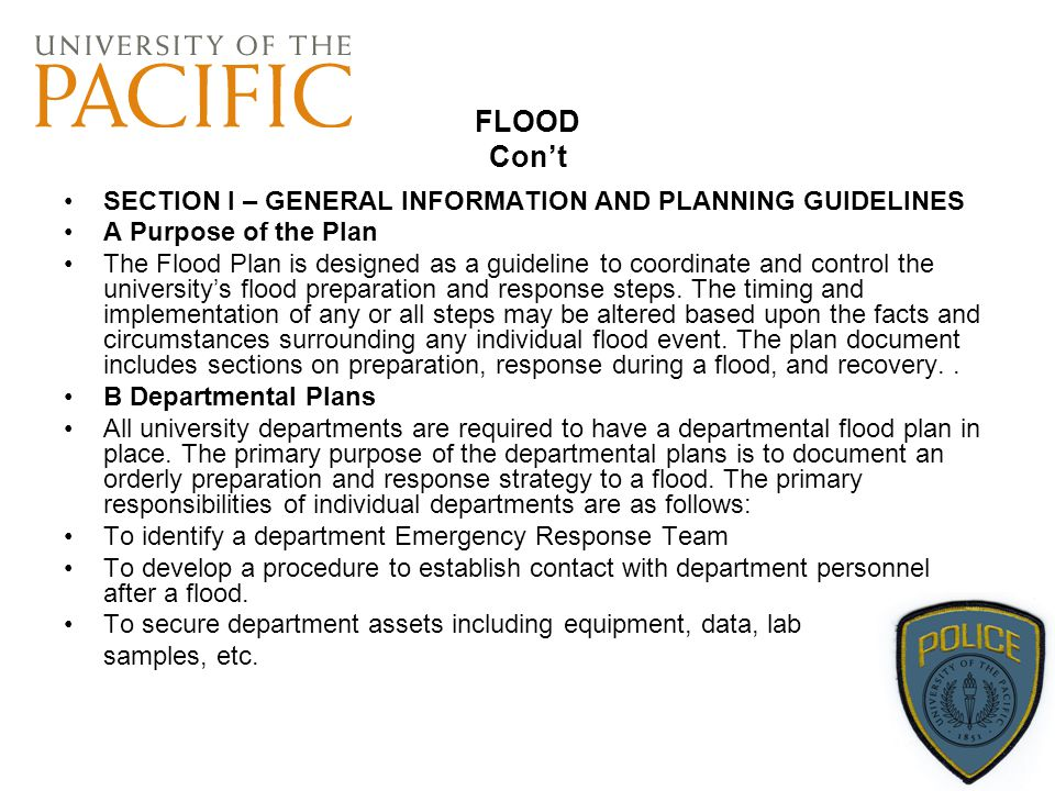 FLOOD Con't SECTION I – GENERAL INFORMATION AND PLANNING GUIDELINES