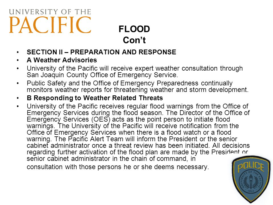 FLOOD Con't SECTION II – PREPARATION AND RESPONSE A Weather Advisories