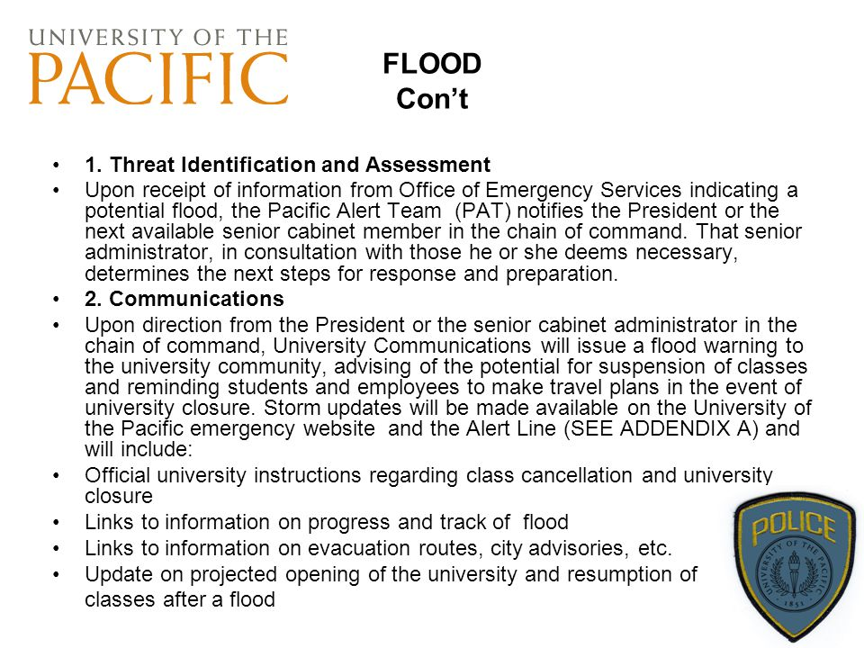 FLOOD Con't 1. Threat Identification and Assessment