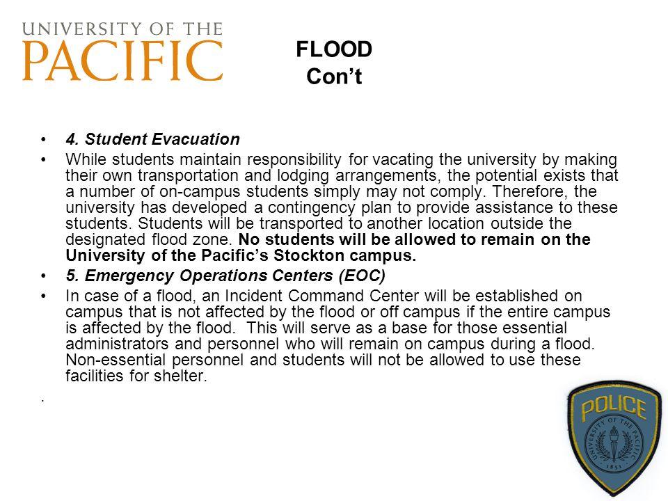 FLOOD Con't 4. Student Evacuation