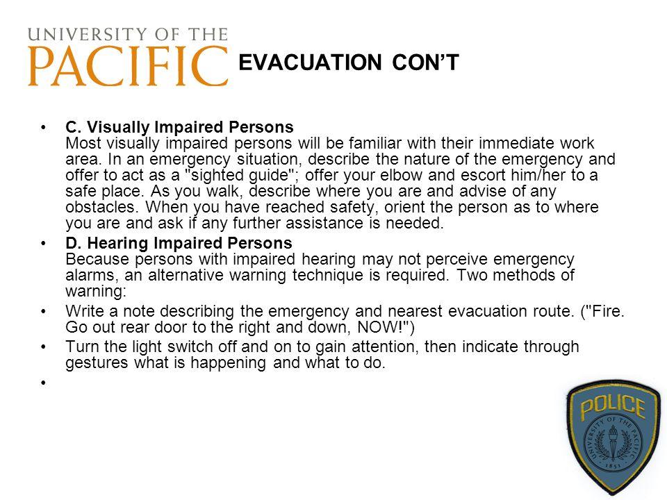 EVACUATION CON'T