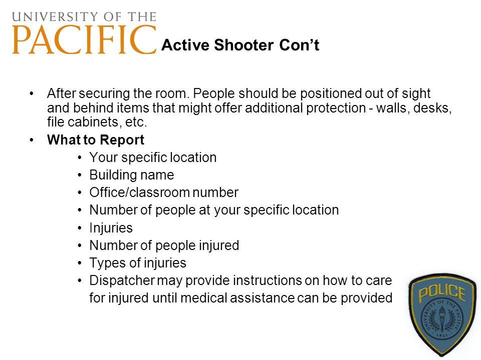 Active Shooter Con't