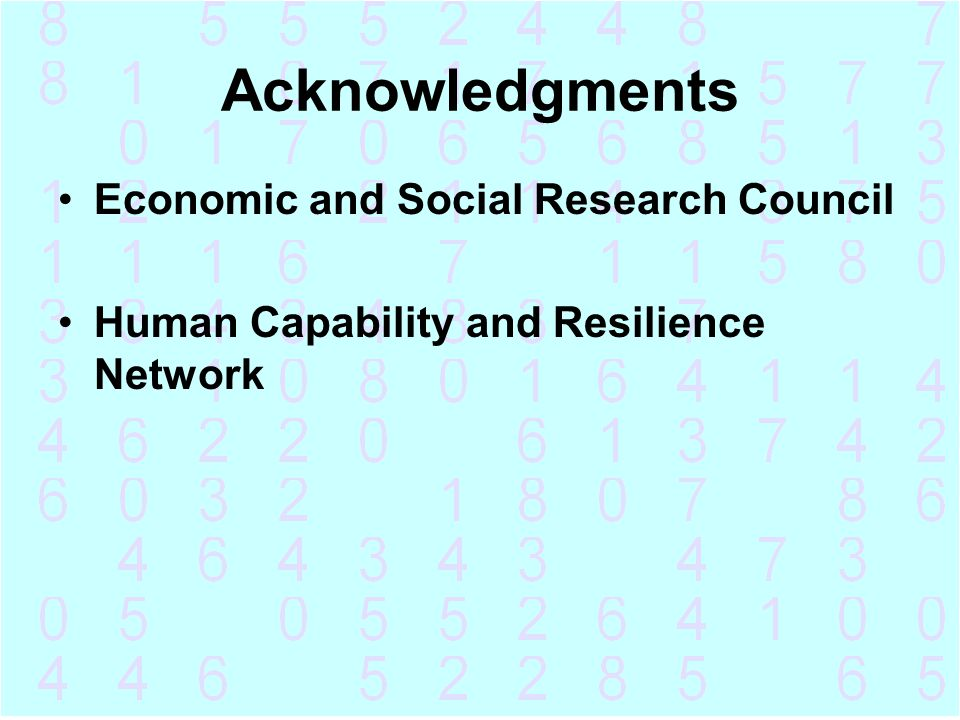 Acknowledgments Economic and Social Research Council