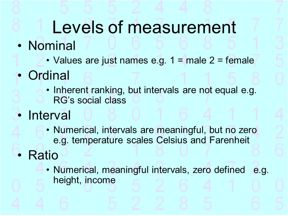 Levels of measurement Nominal Ordinal Interval Ratio