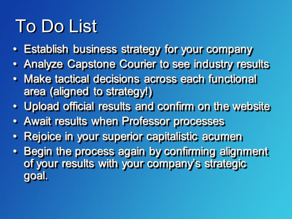 To Do List Establish business strategy for your company
