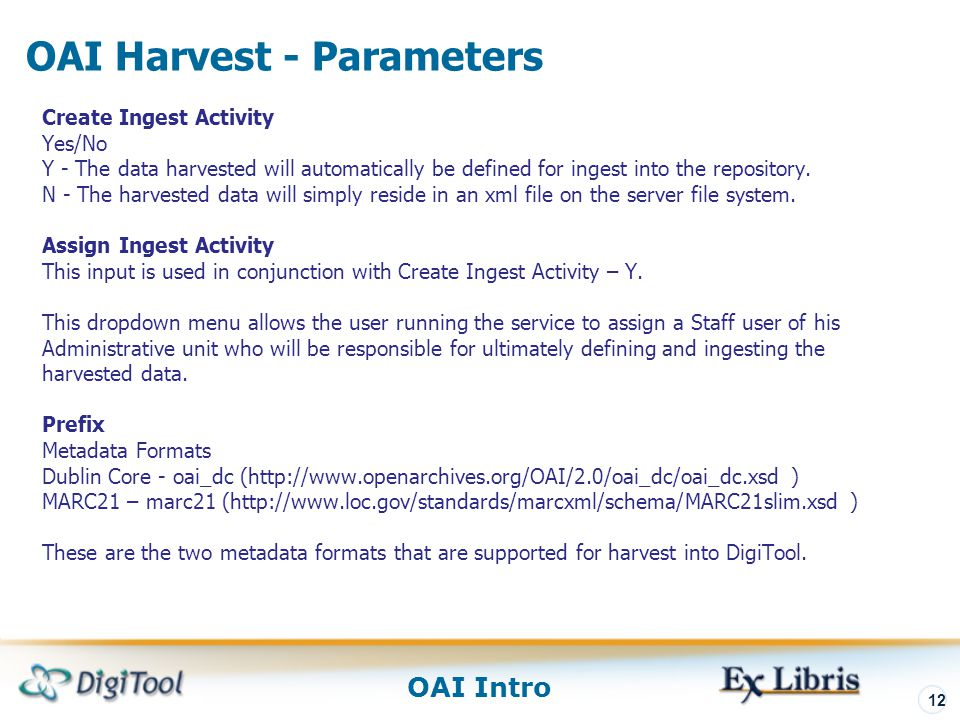 OAI Harvest - Parameters