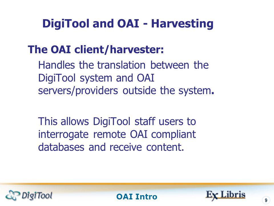 DigiTool and OAI - Harvesting