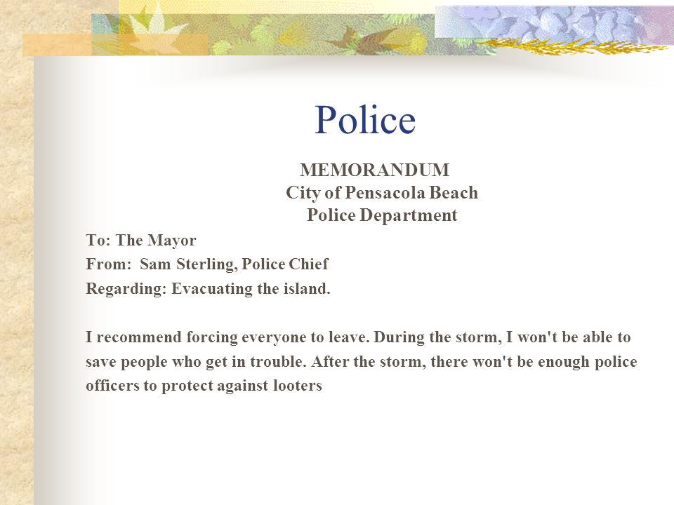 MEMORANDUM City of Pensacola Beach Police Department