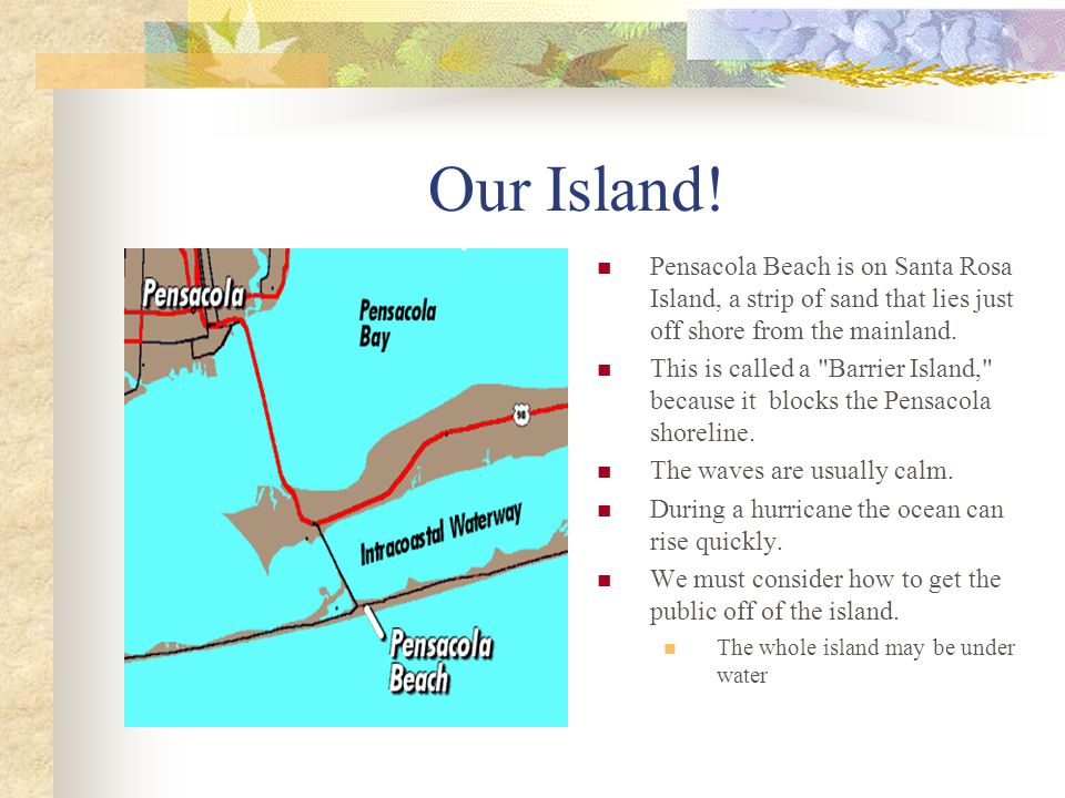 Our Island! Pensacola Beach is on Santa Rosa Island, a strip of sand that lies just off shore from the mainland.