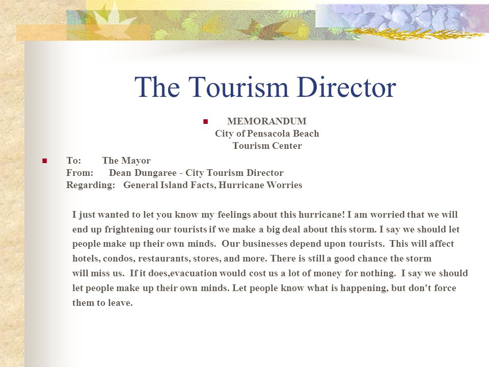 MEMORANDUM City of Pensacola Beach Tourism Center