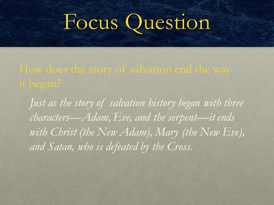 Focus Question How does the story of salvation end the way it began