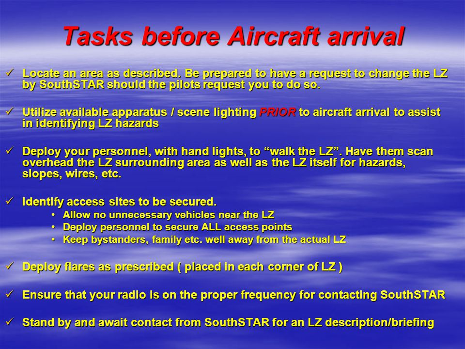 Tasks before Aircraft arrival