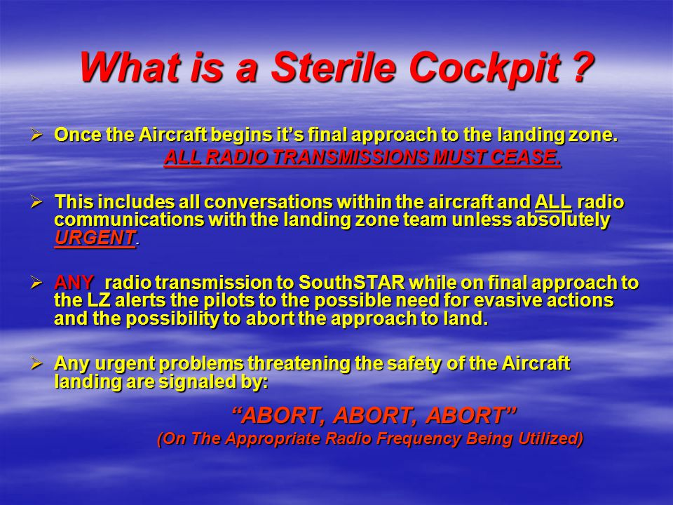 What is a Sterile Cockpit
