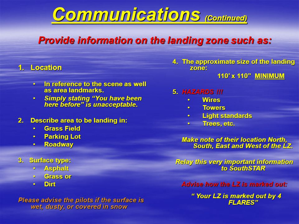Communications (Continued)