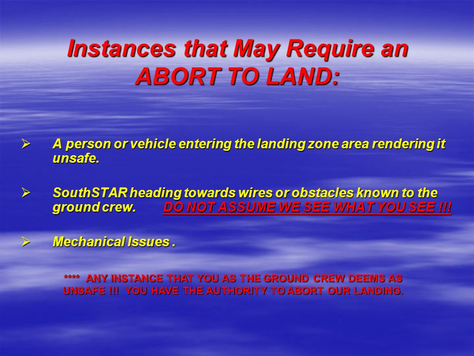 Instances that May Require an ABORT TO LAND:
