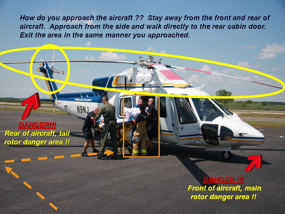 Rear of aircraft, tail rotor danger area !!
