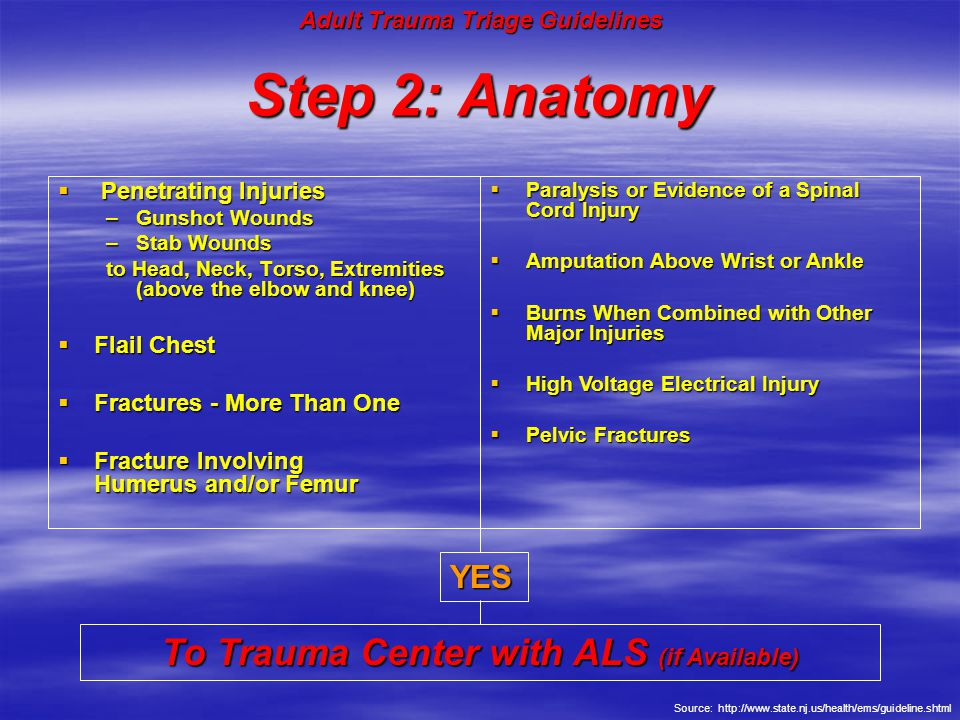 Step 2: Anatomy To Trauma Center with ALS (if Available) YES