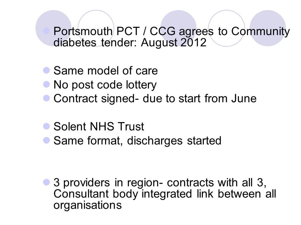 Portsmouth PCT / CCG agrees to Community diabetes tender: August 2012