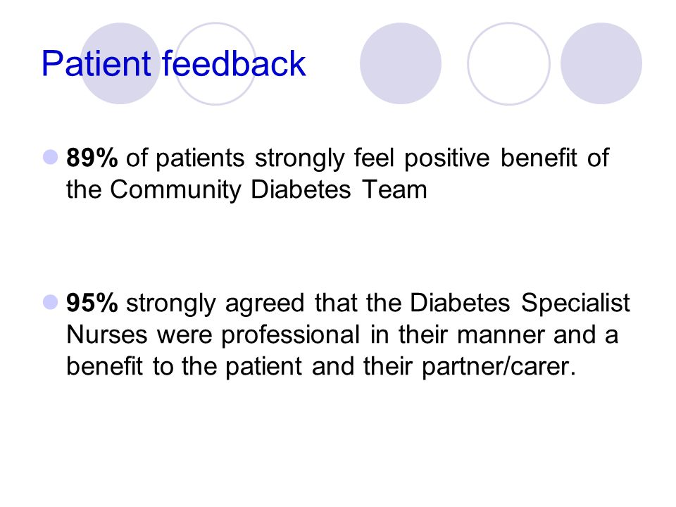 Patient feedback 89% of patients strongly feel positive benefit of the Community Diabetes Team.